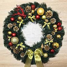 Рождественский венок ø 55 см Символический. Красно-золотой.