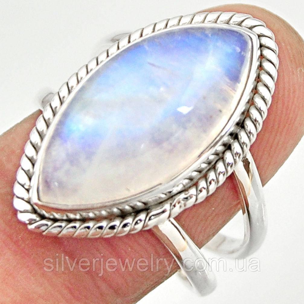 Серебряное кольцо с ЛУННЫМ КАМНЕМ (натуральный), серебро 925 пр. Размер 18,5