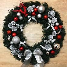 Рождественский венок ø 55 см Символический. Красно-серебряный.
