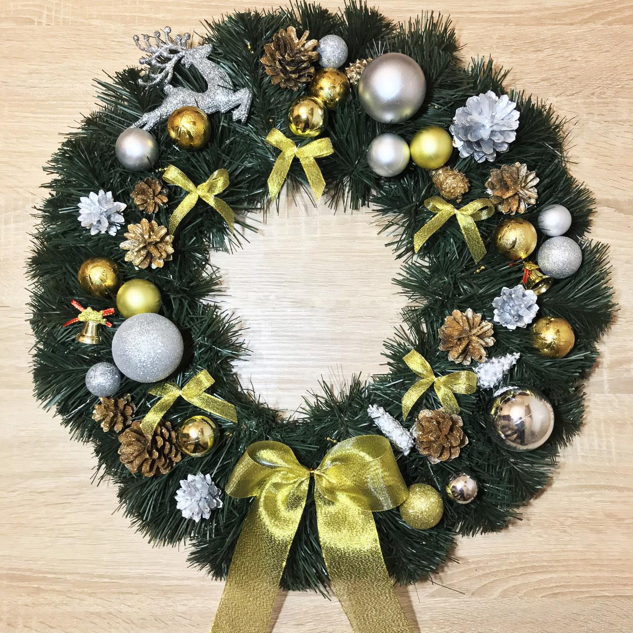 Рождественский венок диаметр 55 см Символический. Серебряно-золотой.