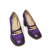 Туфли с тоненьким ремешком через подъем, каблук 8см, цвет фиолет, фото 3
