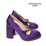 Туфли с тоненьким ремешком через подъем, каблук 8см, цвет фиолет, фото 2