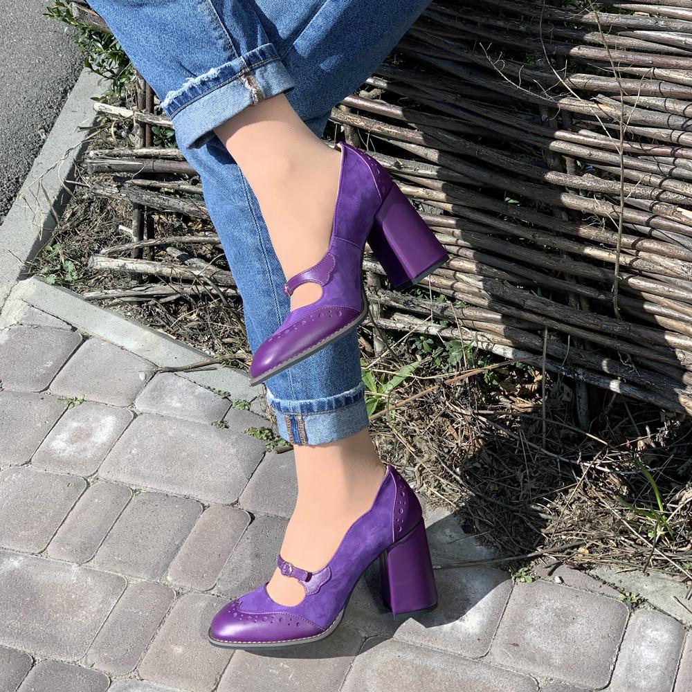 Туфли с тоненьким ремешком через подъем, каблук 8см, цвет фиолет