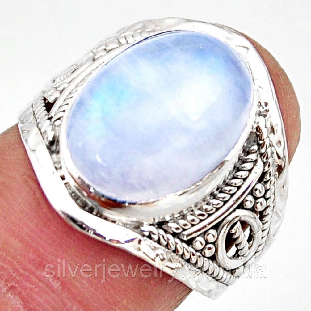 Серебряное кольцо с ЛУННЫМ КАМНЕМ (натуральный), серебро 925 пр. Размер 17