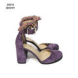 Туфли-деленки с текстильными завязками и союзкой из двух деталей, каблук 8см, цвет пыльный фиолет, фото 2