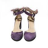Туфли-деленки с текстильными завязками и союзкой из двух деталей, каблук 8см, цвет пыльный фиолет, фото 3