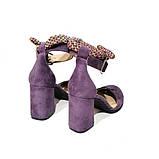 Туфли-деленки с текстильными завязками и союзкой из двух деталей, каблук 8см, цвет пыльный фиолет, фото 4