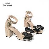 Туфли-деленки с объемными бантами из кожи, каблук 8см, цвет беж/ черный, фото 2