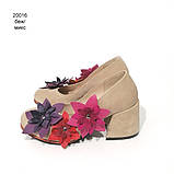 Туфли с цветочным декором, каблук 6см,  цвет беж/ микс, фото 4