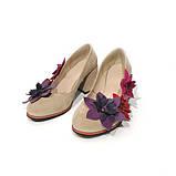 Туфли с цветочным декором, каблук 6см,  цвет беж/ микс, фото 3