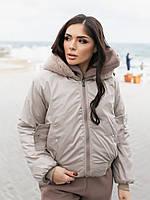 Жіноча зимове двостороння куртка (плащівка з водовідштовхувальним просоченням,друга-овчина), фото 2