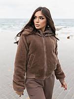 Жіноча зимове двостороння куртка (плащівка з водовідштовхувальним просоченням,друга-овчина), фото 4