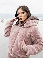 Жіноча зимове двостороння куртка (плащівка з водовідштовхувальним просоченням,друга-овчина), фото 5