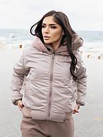 Жіноча зимове двостороння куртка (плащівка з водовідштовхувальним просоченням,друга-овчина), фото 6