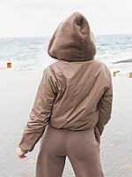 Жіноча зимове двостороння куртка (плащівка з водовідштовхувальним просоченням,друга-овчина), фото 8