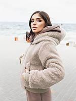 Жіноча зимове двостороння куртка (плащівка з водовідштовхувальним просоченням,друга-овчина), фото 9