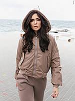 Жіноча зимове двостороння куртка (плащівка з водовідштовхувальним просоченням,друга-овчина), фото 10