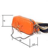 Сумка-багет с митенкой, цвет оранж/ беж, фото 3