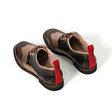 Броги с контрастной пяткой, цвет коричневый/ золотистый беж, фото 4