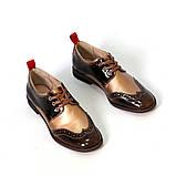 Броги с контрастной пяткой, цвет коричневый/ золотистый беж, фото 3