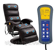 Відпочинкове м'яке крісло реклайнер з масажем та підігрівом
