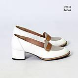 Лоферы с каблуком 4 см, цвет белый, фото 2