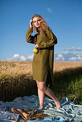 Льняное платье свободного кроя. Украина Silence 014 Khaki