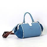 Сумка-ридикюль объемной конструкции, цвет синий/белый, фото 5