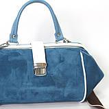 Сумка-ридикюль объемной конструкции, цвет синий/белый, фото 4