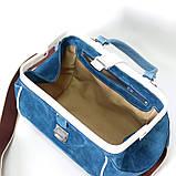 Сумка-ридикюль объемной конструкции, цвет синий/белый, фото 6