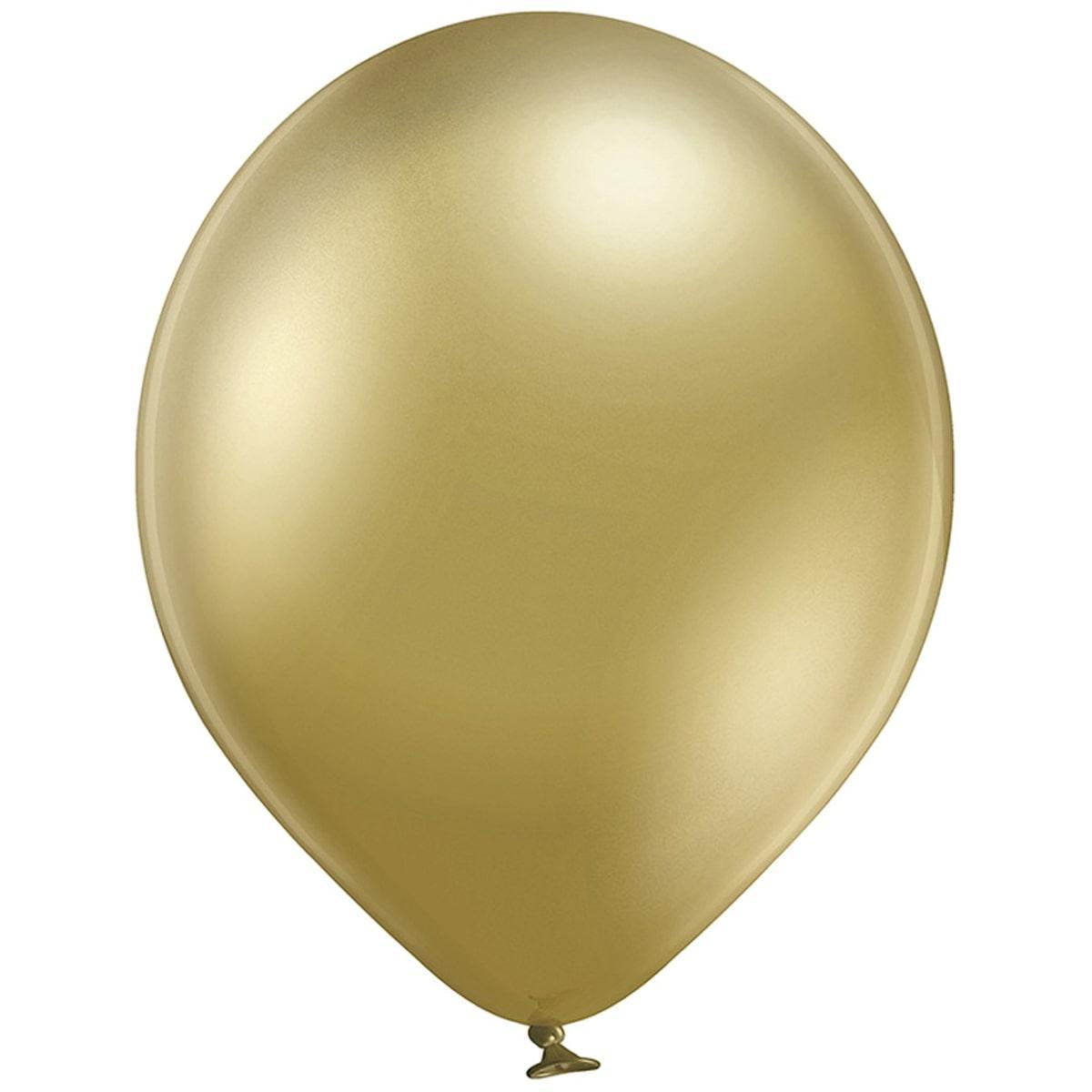 """В 12"""" 105/600 Хром Золотистый glossy gold. Латексные шары круглые без рисунка"""