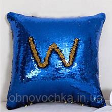 Подушка-антистрес з паєтками - синій колір