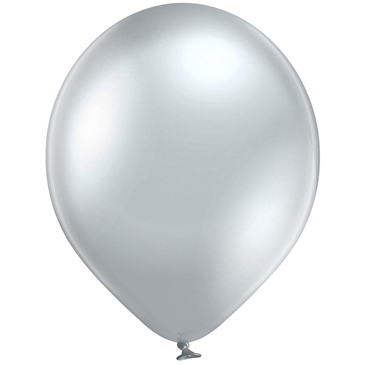 """В 12"""" 105/600 Хром Серебристый glossy silver. Латексные шары круглые без рисунка"""