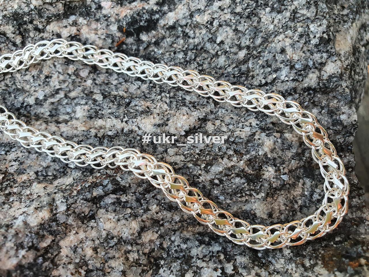 Серебряная цепь Королевский Питон («Американка», «Кардинал»), 55 см. Вес 20,05 гр. 925 проба. Ручное плетение