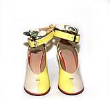Глубокие туфли с открытой пяткой, каблук 8см, цвет молочный беж/ жёлтый, в наличии размер 37, фото 3