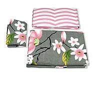 """Двоспальний комплект (Бязь)   Постільна білизна від виробника """"Королева Ночі""""   Квіти на сірому і рожевому, фото 3"""