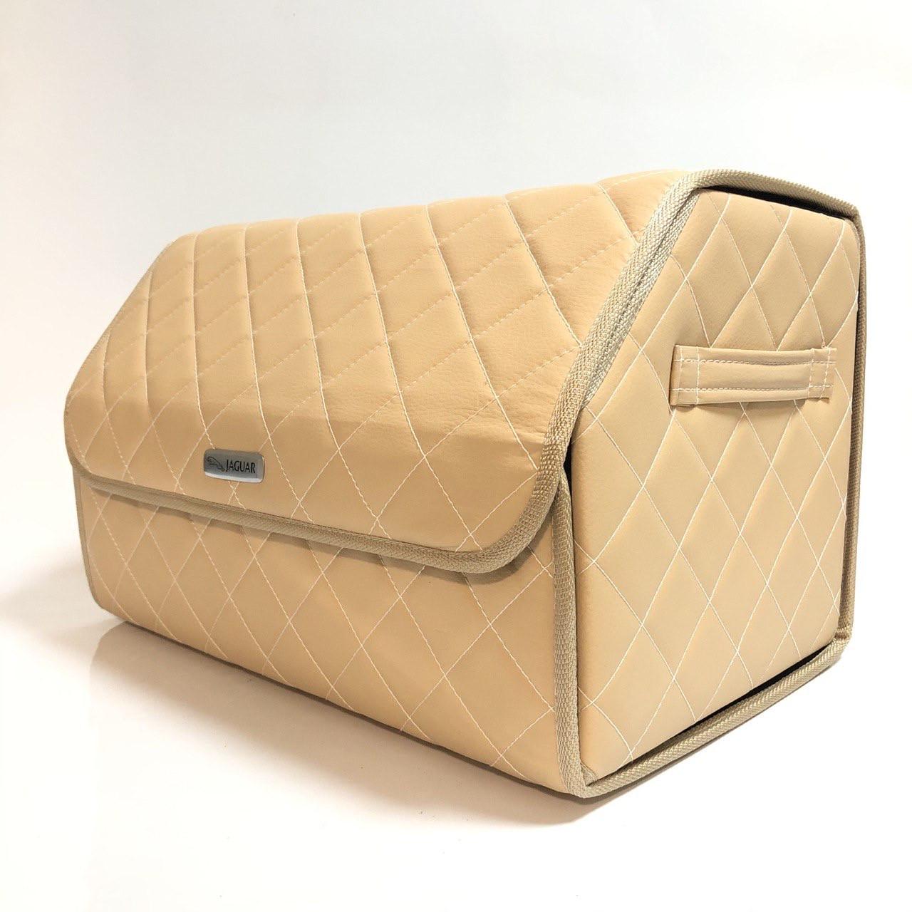 Саквояж с лого в багажник «Jaguar» I Органайзер в авто бежевый Ягуар