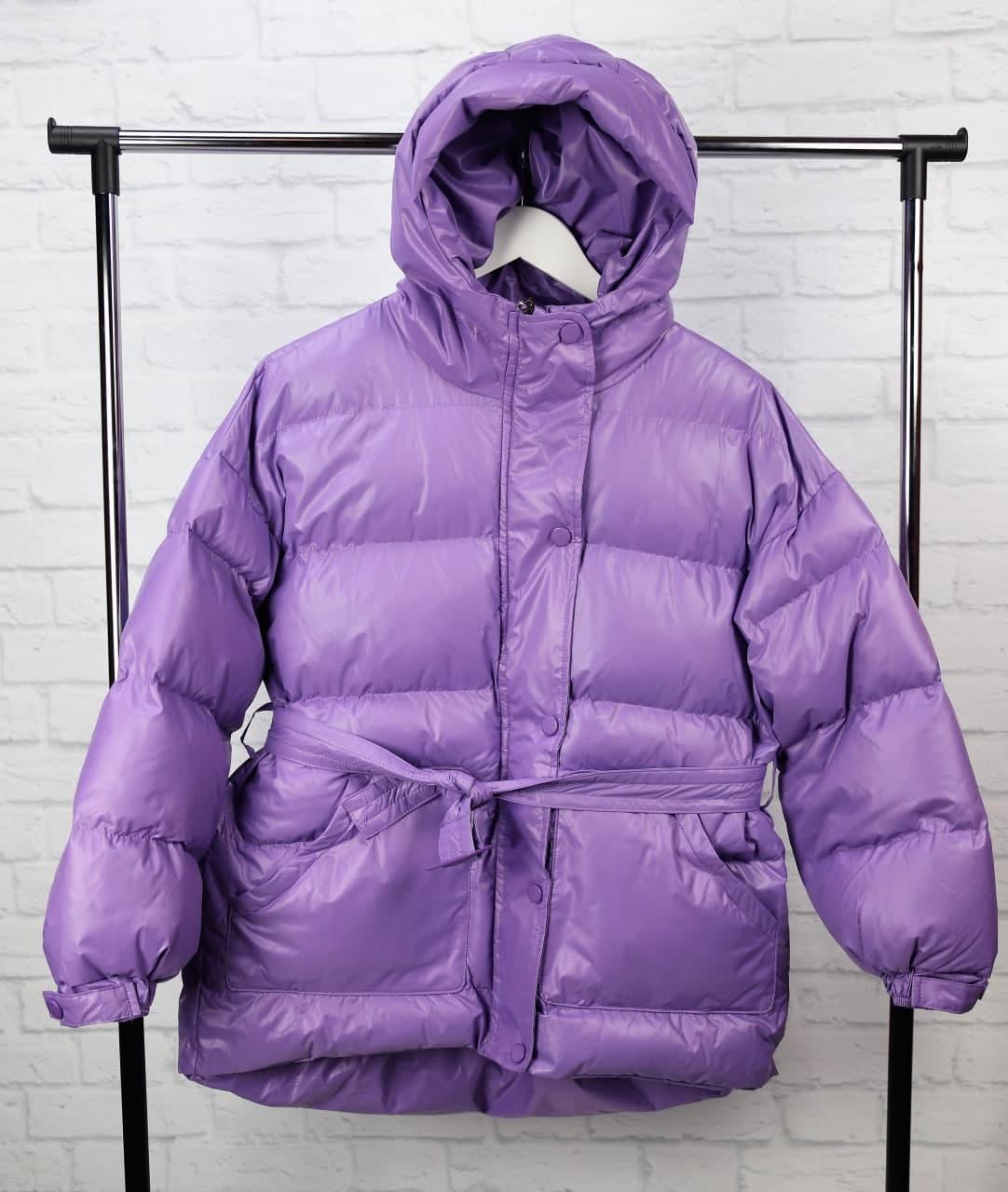 Теплая женская куртка с поясом 42-46 р