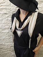 Шарф женский трикотажный 170х40см с серой подвеской