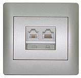 Розетка комп'ютерна кат.5E i телефонна RJ11 біла OSCAR (з рамкою), фото 5
