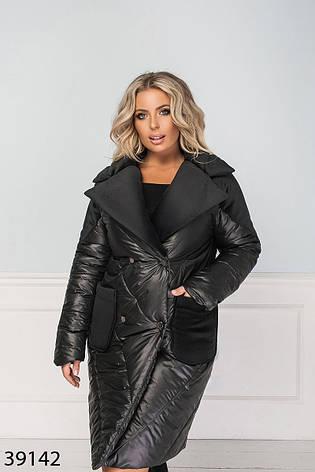 Куртка длинная стеганая демисезонная-зимняя размеры: 50-60, фото 2