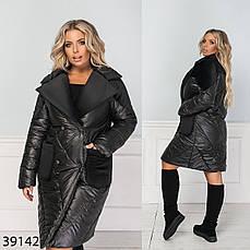 Куртка длинная стеганая демисезонная-зимняя размеры: 50-60, фото 3