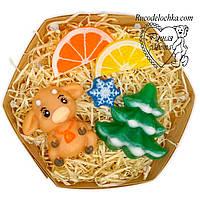 Мило ручної роботи новорічне в наборі, новорічний подарунок, бичок, сніжинка, ялинка, зубчики лимон і апельсин