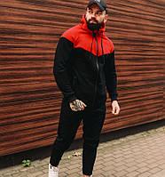 Спортивный костюм мужской теплый зимний с капюшоном на флисе черный с красным. Живое фото. Чоловічий костюм
