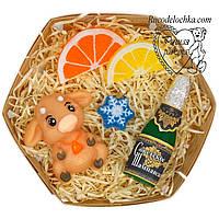 Мило ручної роботи новорічне в наборі, новорічний подарунок, бичок, шампанське, сніжинка, лимон, апельсин