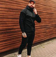 Спортивный костюм теплый мужской зимний с капюшоном на флисе черный с серым. Живое фото. Чоловічий костюм