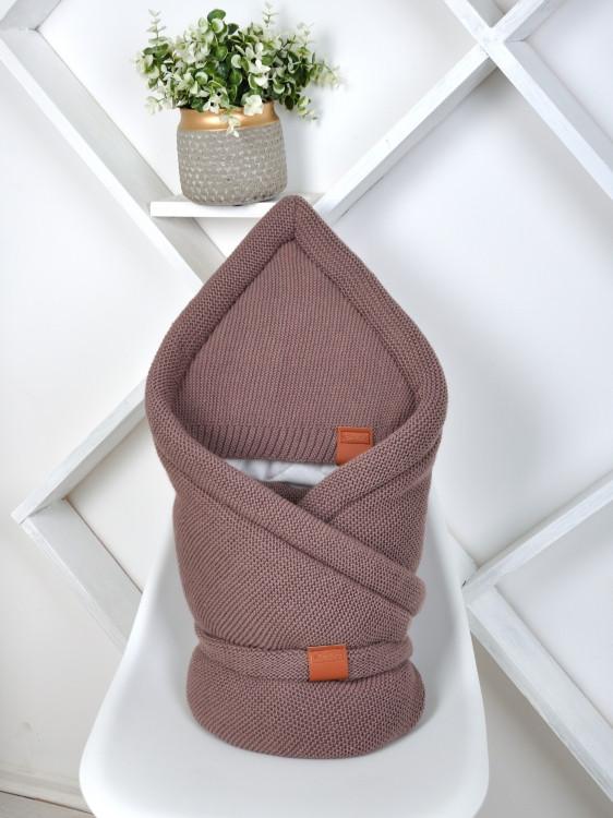 Демисезонный вязанный конверт одеяло (Капучино)