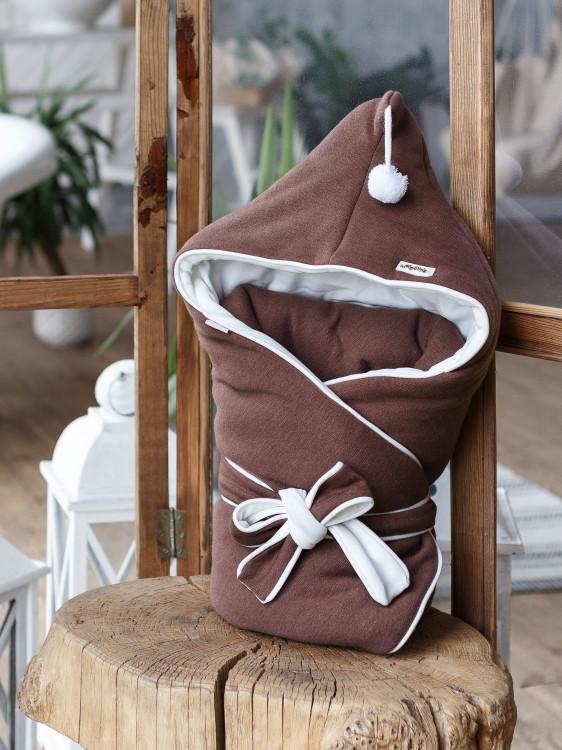 Демисезонный трикотажный конверт одеяло Гном (Коричневый)