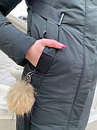 Длинный пуховик пальто Visdeer 1957-S07-haki, фото 7