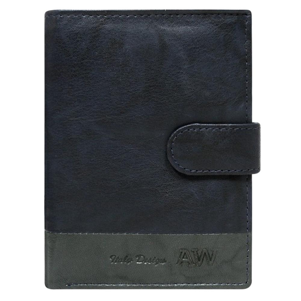 Мужской кожаный бумажник на кнопке синий Always Wild N4L-GA